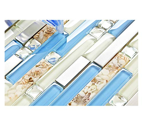 TST Glass Inner Conch Tile Beach Style Blue Cream White Brushed Steel Art Mosaic Kitchen Backsplash Bath Decor TSTNB06 (11 Square Feet)