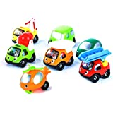 Smiley Cars for Toddlers - Gift Play-Set with 7 Colorful Cars, Trucks and Helicopter [Happy Fleet by TransporToys]