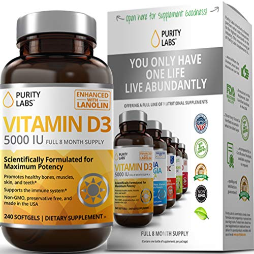 Purity Labs Vitamin D3 5000 IU Softgels | Gluten Free, Always Non GMO, Preservative Free | Supports Bone, Hormone, Immune, Muscle, Skin, and Teeth Health | 8 Month Supply - 240 Count