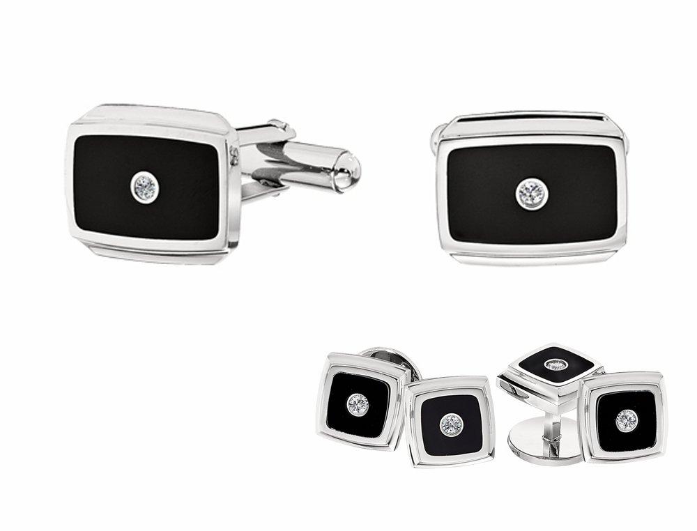 STEL Stainless Steel Diamond Cufflinks and Tuxedo Stud Set