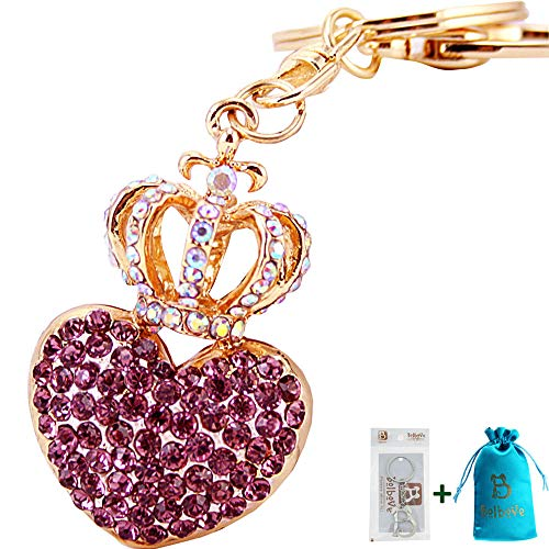 Bolbove Crown with Love Heart Keychain Crystal Keyring Rhinestones Purse Pendant Handbag Charm (Purple)