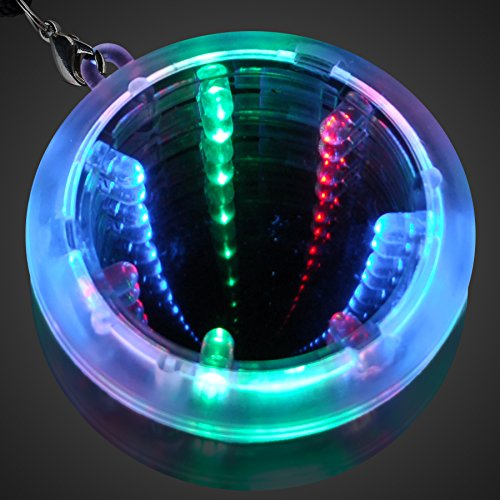 Led Crystal Necklace (FlashingBlinkyLights Deluxe Light Up Infinity Tunnel LED Necklaces (Set of)