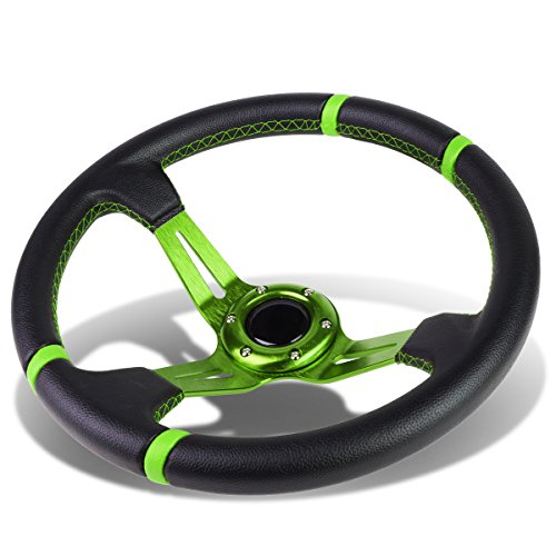 Aluminum Frame Vinyl Leather Cover 350mm 6-Bolt Steering wheels + Horn Button (Green Spoke / Green Stripe) (Steering Wheel Leather Wrapped)
