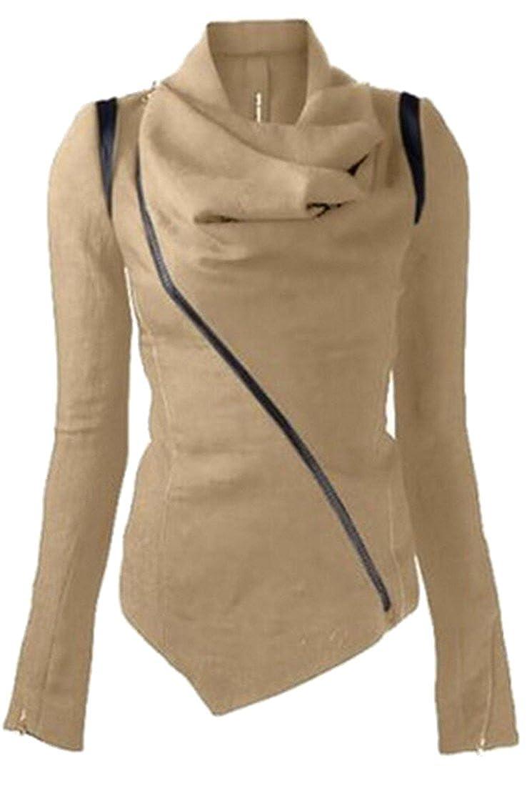 Gocgt Womens Oblique Zip Cowl Neck irregular Hem Jacket Coat