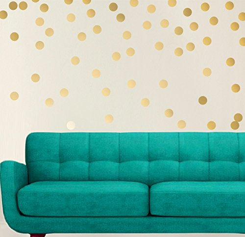 200 Gold Polka Dot Wall Decals Art Decoration, Double Sided Metallic Gold Decals With Satin (Satin Peel)