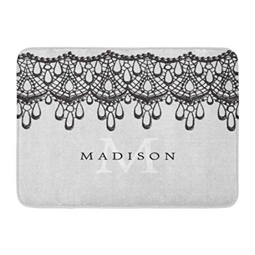 Custom Doormats Elegant Glam Gray Black Lace Monogram Home Door Mats 18 x 30 Inches Entrance Mat Floor Rug Indoor/Outdoor/Front Door/Bathroom Mats Rubber Non Slip -