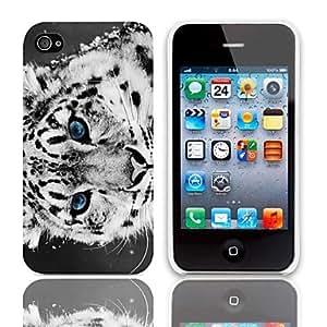 ZMY Caso Tiger Design duro con paquete de 3 protectores de pantalla para iPhone 4/4S
