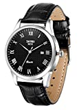 LYMFHCH Men's Quartz Watch with Leather Band Unique Business Dress Analog Watches Large Casual Luminous Hands Waterproof Wrist Watch - Brown