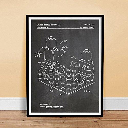 LEGO Minifigure Poster Toy Building Construction Blocks 1979 Patent Print MiniFig Gift Blackboard Isometric