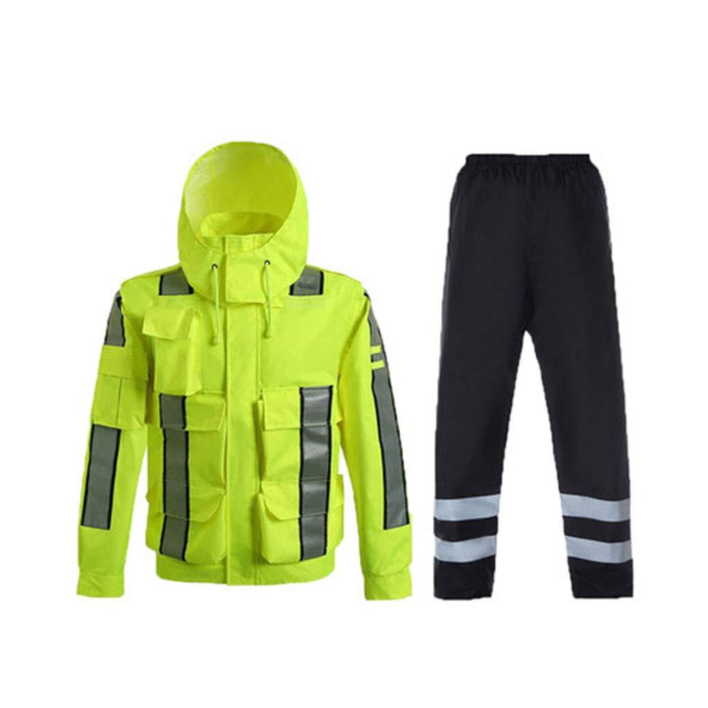 JTWJ 反射性のレインコートセット反射性のコートジャケット蛍光黄色の屋外防水服 (色 : イエロー いえろ゜, サイズ さいず : L l) L l イエロー いえろ゜ B07PKJTR1N