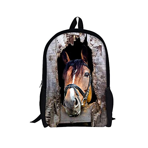 TOREEP Cool Horse Outdoor Animal School Backpack for (Olive Transparent Sunglasses)