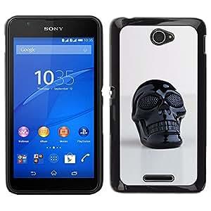 YiPhone /// Prima de resorte delgada de la cubierta del caso de Shell Armor - Impresión del cráneo de plástico reflectante Arte 3D - Sony Xperia E4