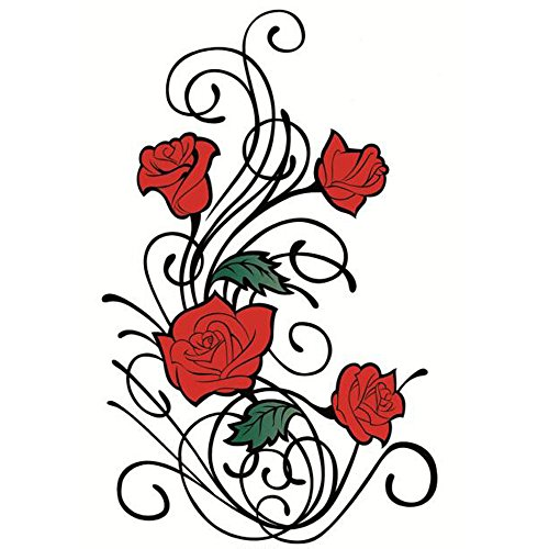 (Yeeech Temporary Tattoos Sticker Vine Rose Red Sexy Products for Women Waterproof )
