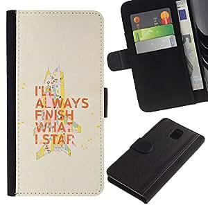 Be-Star la tarjeta de Cr¨¦dito Slots PU Funda de cuero Monedero caso cubierta de piel Para Samsung Galaxy Note 3 III ( Motivazionale Citazione Fine Che cosa iniziare a lavorare )