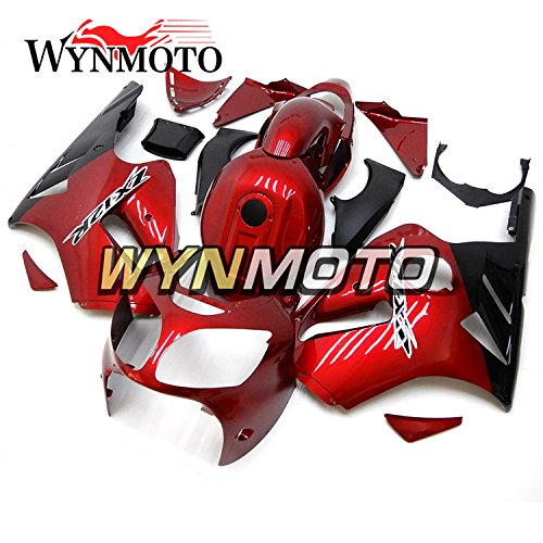 Black Abs Injection (WYNMOTO Pearl Gloss Red Black ABS Plastic Injection Motorcycle Fairing Kit For Kawasaki ZX12R 00 01 ZX-12R 2000 2001 Sportbike Panels)