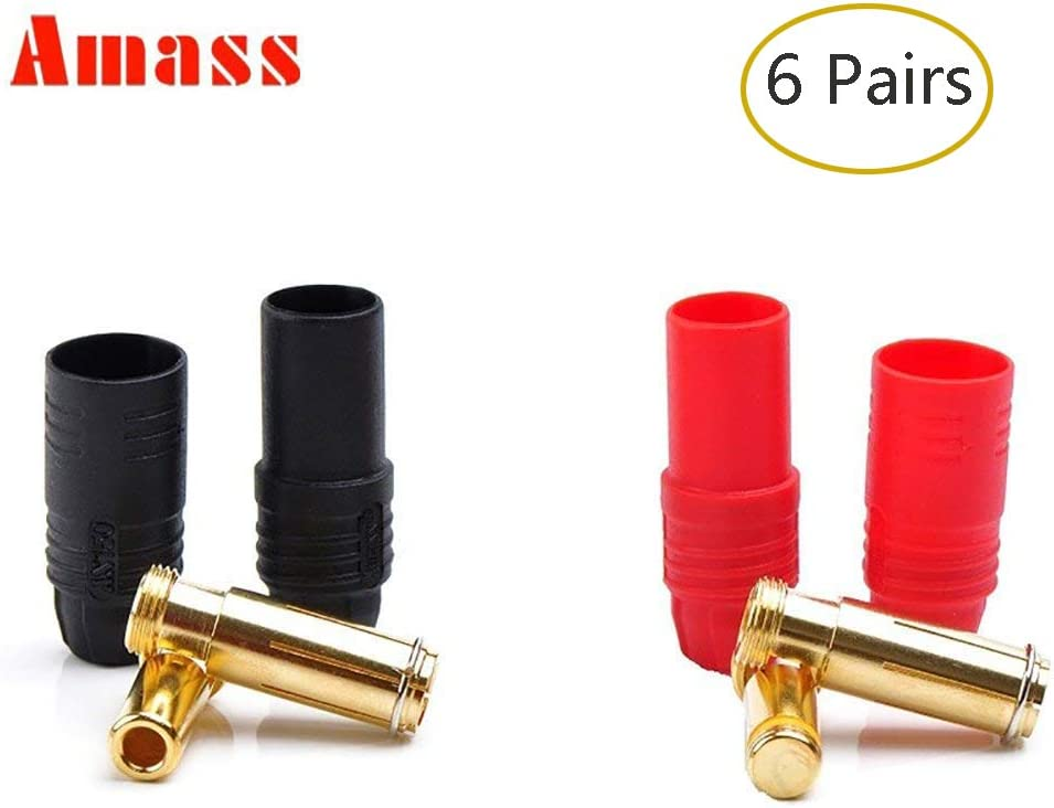 1 Pair XT150 6mm Large Current Motor Bullet Connector Male//Female w//Sleeve Black