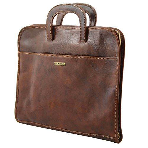 cuir Porte marron documents Serviette LEATHER foncé SORRENTO en TUSCANY 81410224 qawIB0I