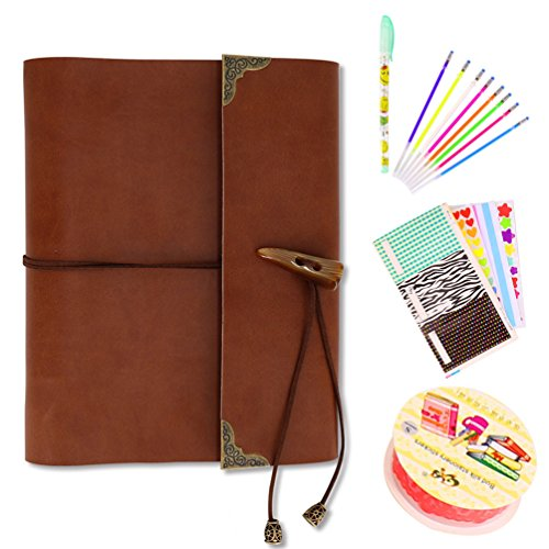 IOQSOF DIY Photo Album memory Book for Baby Anniversary Birthday Wedding Travel Graduation Self-adhesive Picture Adhesive Scrapbook Genuine Leather 60 pages (Small, Brown Compass)