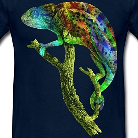 Spreadshirt Buntes Chamäleon Aquarell Männer T-Shirt: Amazon.de ...