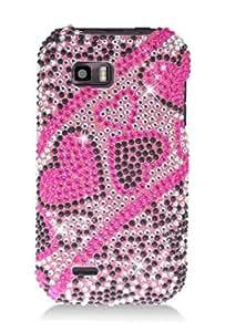 LG C800 MyTouch Q Full Diamond Graphic Case - Pink/Black Hearts