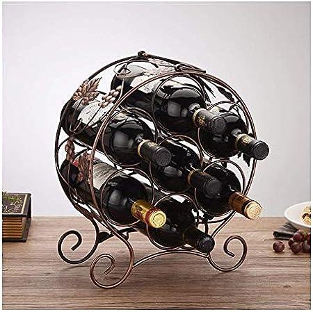 HJXSXHZ366 Estantería de Vino 7 Estante de la Botella de Vino bastidores de Vino de Mesa de pie Mesa de Metal, marrón Estante de Vino pequeño (Color : Bronze)