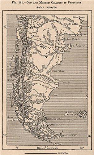 Antiguo y moderno colonias en la Patagonia. Argentina Chile, 1885 mapa antiguo