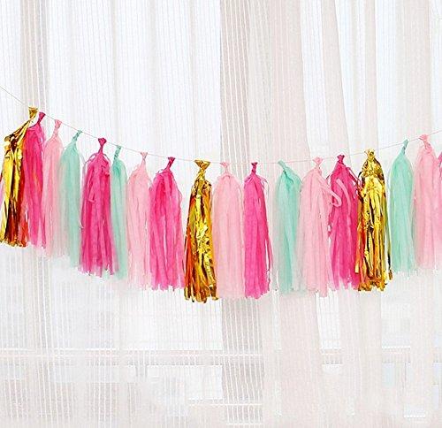 Premium Tissue Paper Tassels, Party Tassels DIY Garland Banner Wedding, Baby Shower, Birthdays, Photo Props, Event Party Supplies DIY Kits (Green + Pink) by Shallylu