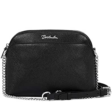 BOSTANTEN Women Leather Handbags Small Crossbody Purses Chain Shoulder Purses and Handbags Black Size: Small