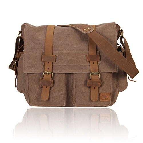 Hynes Eagle Vintage Canvas Leather Messenger Bag for Travel Outdoor Hiking School Coffee