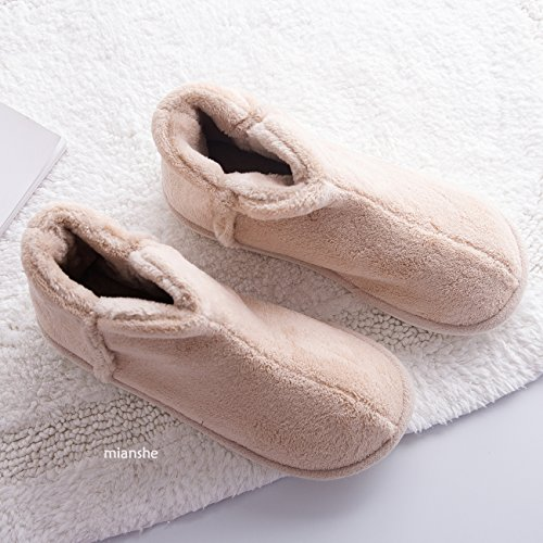 Men's Lined Cozy Slip Short Slippers Plush Bootie House Anti mianshe Shoes Womens Menory Foam Kahki Indoor fzxqHp7