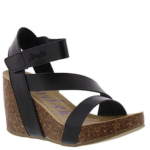 Blowfish Hapuku Black Dyecut Pu Womens Wedge Sandals Size 11M