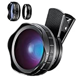 Cell Phone Camera Lens 2 In 1 Kit, 15X Macro Lens&0.45X Super Wide Angle Lens, Professional Clip-on Cell Phone Lenses For Iphone, Samsung & Most Smartphone(Black)