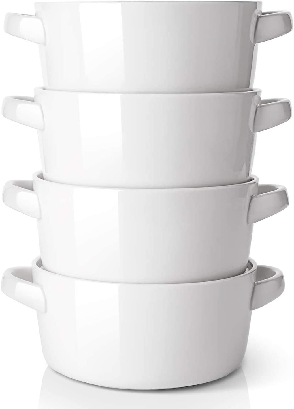 DOWAN Soup Bowls with Handles 24 oz, large White Bowls for kitchen, ceramic french onion soup bowl crocks oven & Microwave Dishwasher Safe, Porcelain Stackable Handled Bowls Set of 4