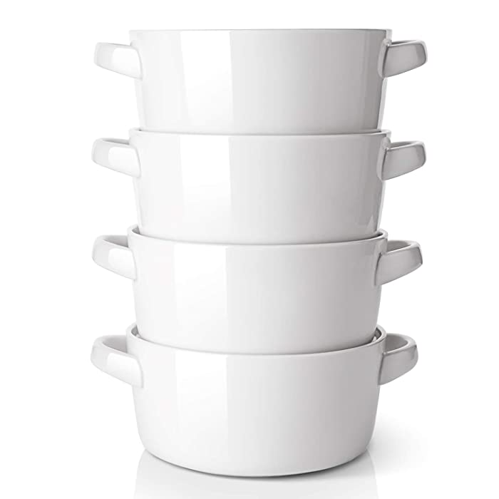 DOWAN Porcelain Soup Bowls with Handles, 24 Ounce for Soup, Cereal, Stew, Chill, Set of 4, White