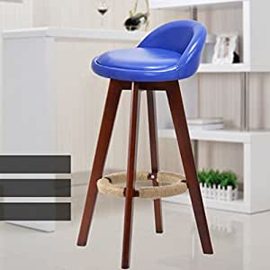 WENBO HOME- Minimalistic, Solid Wood, Leather Cushion Bar Creative High Chair European-style Wooden Chair Vintage Bar Stool Height 73cm -chair ( Color : Blue )