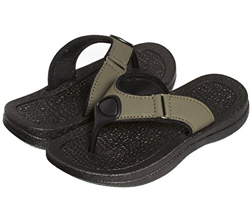 Skysole Boys Rugged PU Ring Thong Strap Sandals Moss Black 11/12 US Little Kid
