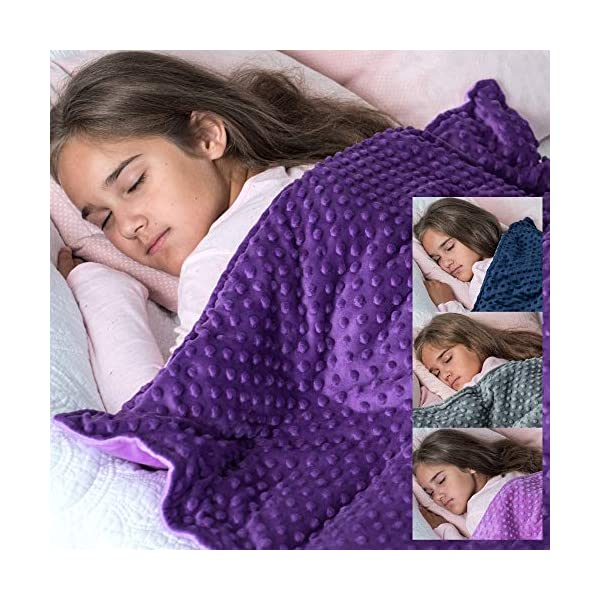 Loved Blanket 5 lbs Cotton Weighted Blanket with Removable Dot Minky Cover for Kids (Inner Light Violet/Cover Dark Violet & Violet, 36″x48″ 5 lbs)
