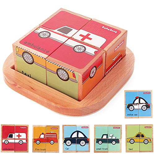 Wooden Block Puzzles Toys Toddler Six Sides Painting Pattern Jigsaw Vehicle Blocks Cube Puzzle Educational Toy Early Learning Kids Childrens Gifts 2-3 Year Old Girl Boy