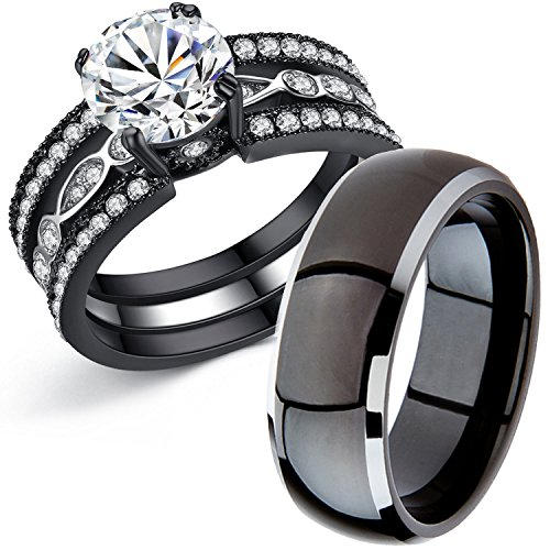 MABELLA Couple Rings Black Men's Titanium Matching Band Women CZ Stainless Steel Engagement Wedding Sets