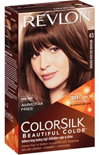 Revlon ColorSilk Hair Color [43] Medium Golden Brown 1 ea (Pack of 8)