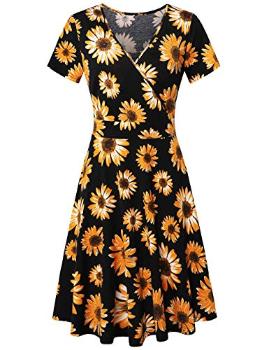 (FANSIC Women's Criss-Cross V-Neck Short Sleeve Unique Cross Wrap Swing Summer Casual Flared Midi Dress Yellow Floral X-Large)