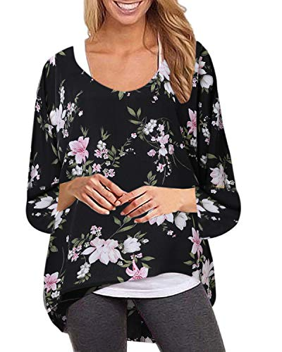 ZANZEA Women's Batwing Long Sleeve Floral Print Off Shoulder Loose Oversized Baggy Tops Casual Blouse T-Shirt Black 2XL