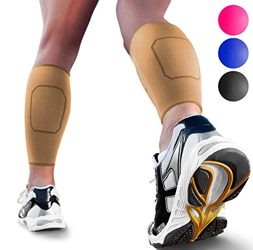 Calf Compression Sleeves by SPARTHOS (Pair)  Leg Compression Socks for Men and Women  Shin Splint Calf Pain Relief Medical Leg Pain and Cramps Recovery Varicose Veins (Beige-M)