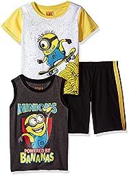 Universal Toddler Boys\' 3 Piece Minions Tank, Tee and Short Set, Grey, 3t