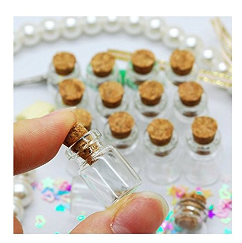 NiceButy 50pcs 0.5ml Small Mini Glass Bottles Plugs Bottle Jars with Cork Stoppers/Message Weddings Wish Jewelry Party Favors