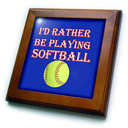 (3dRose ft_213135_1 Id Rather be Playing Softball Game Winning Score Popular Saying Framed Tile, 8