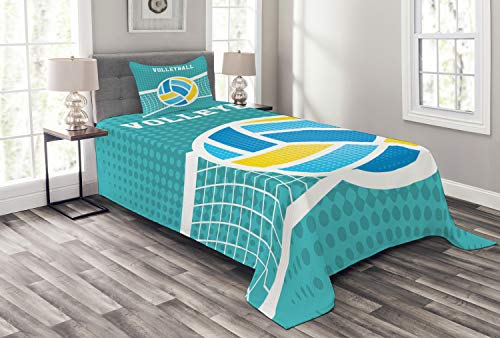 Lunarable Volleyball Bedspread, Halftone Style Background with Net and Ball Outdoors Sports Themed Illustration, Decorative Quilted 2 Piece Coverlet Set with Pillow Sham, Twin Size, Blue Yellow