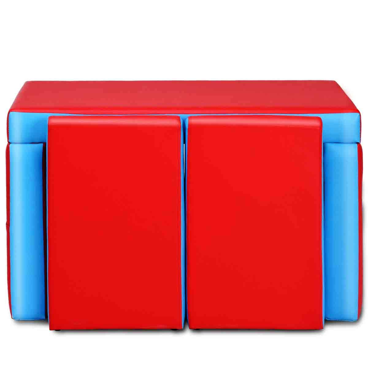 Costway Canap/é Enfant Fauteuil Enfant Sofa pour Enfant PVC Combinaison 2 Si/ège PVC Bleu et Rouge