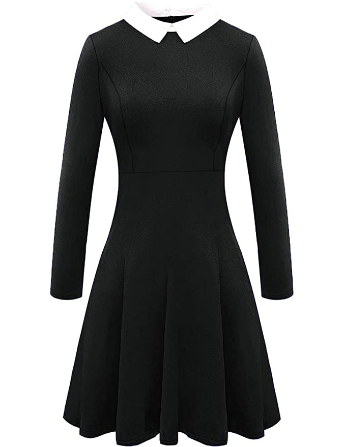 a9f6547653 For G and PL Womens Addams Wednesday Long Sleeve Skater Dress   Amazon.co.uk  Clothing