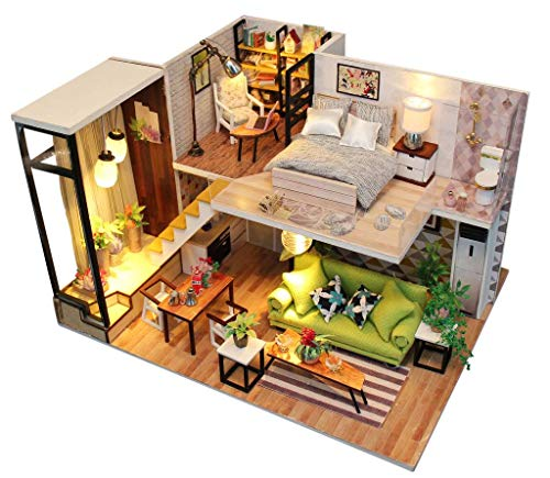 Rylai 3D Puzzles Wooden Handmade Miniature Dollhouse DIY Kit w/ Light-Romance Europe Series Dollhouses Accessories Dolls Houses with Furniture & LED & Music Box Best Xmas Gift for Women and Girls
